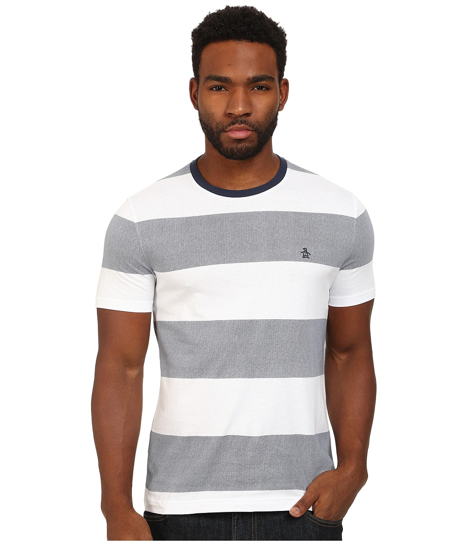Original Penguin - Birdseye Block Stripe Tee (Bright White) Men's T Shirt