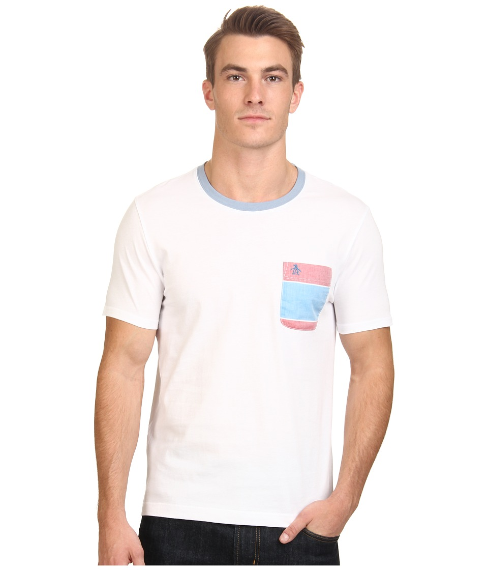 Original Penguin - Bold Stripe Woven Pocket Tee (Bright White) Men