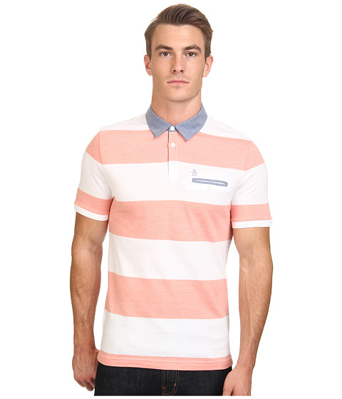 Original Penguin - Birdseye Auto Stripe w/ Chambray Collar (Coral) Men