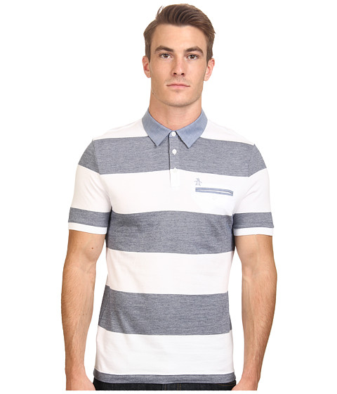 Original Penguin - Birdseye Auto Stripe w/ Chambray Collar (Bright White) Men's Short Sleeve Pullover