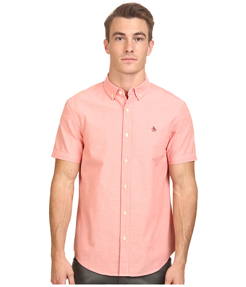Original Penguin - Short Sleeve Oxford Cotton Heritage Fit Shirt (Coral) Men's Short Sleeve Button Up