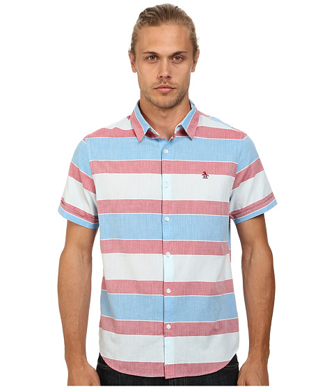 Original Penguin - Large Bold Horizontal Woven Short Sleeve Shirt (Methyl Blue) Men