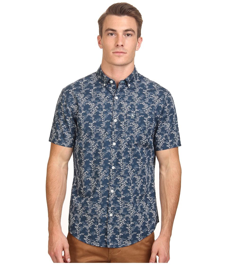 Original Penguin - Bamboo Printed Poplin Short Sleeve Woven Shirt (Blue Wing Teal) Men