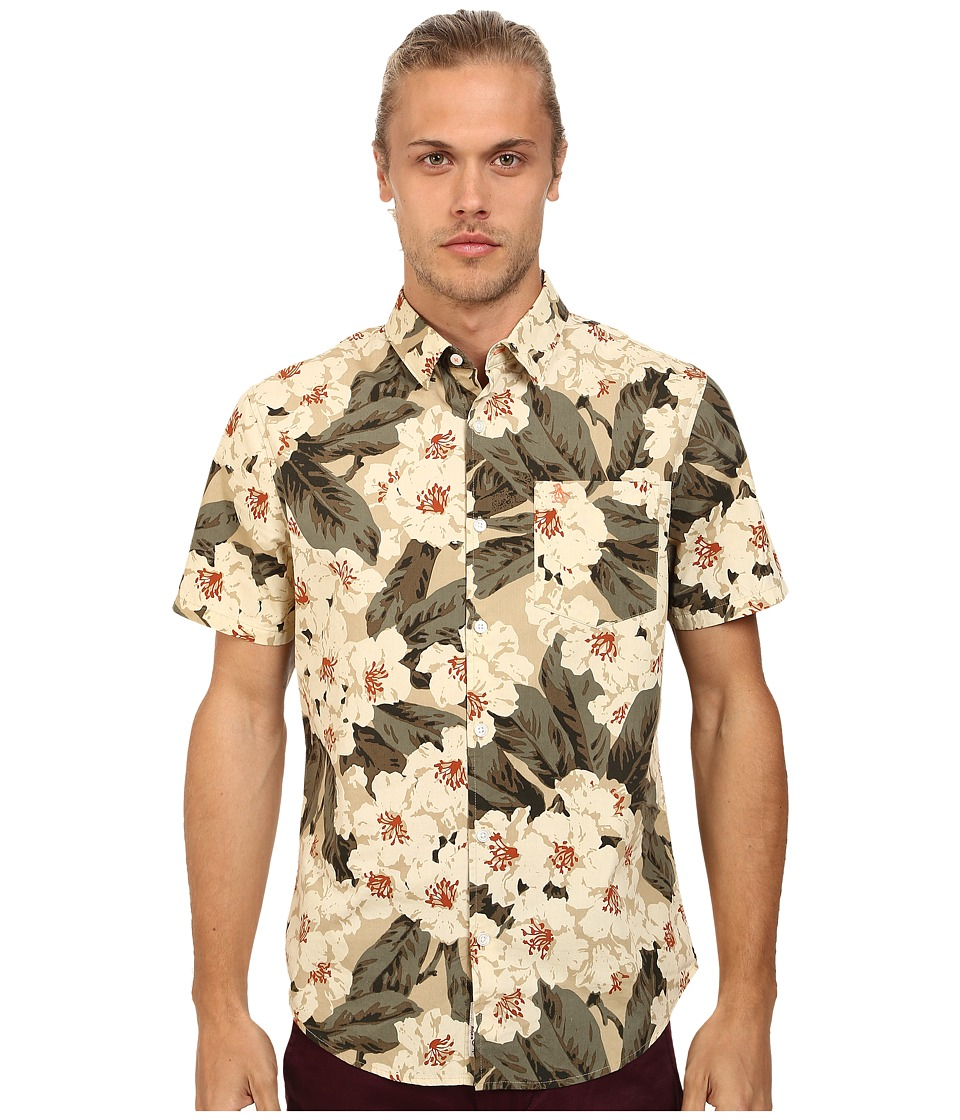 Original Penguin - Dark Floral Printed Short Sleeve Woven Shirt (Pale Khaki) Men's Short Sleeve Button Up