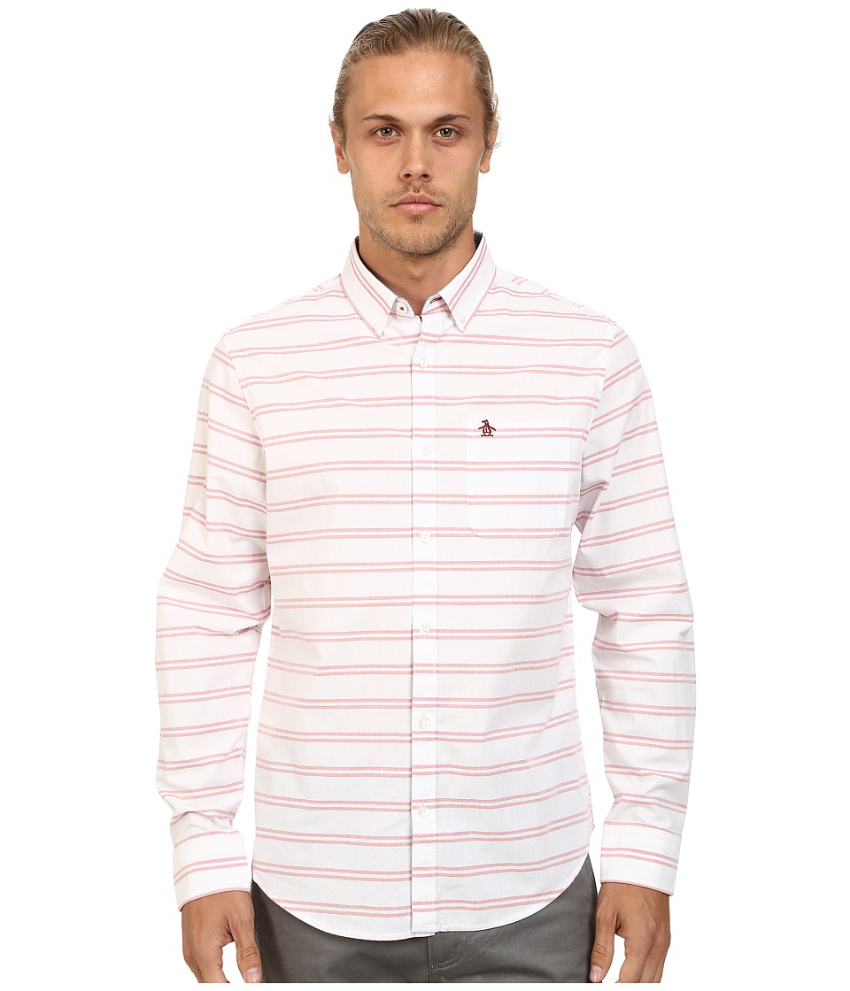 Original Penguin - Horizontal Striped Long Sleeve Woven Shirt (Bright White) Men's Long Sleeve Button Up