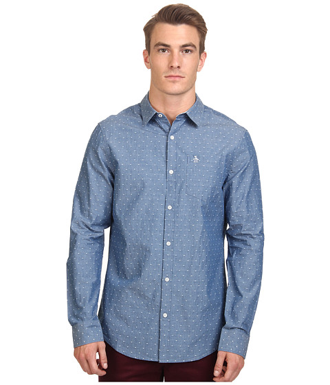 Original Penguin - Chambray Polka Dot Dobby Long Sleeve Woven Shirt (Faded Denim) Men