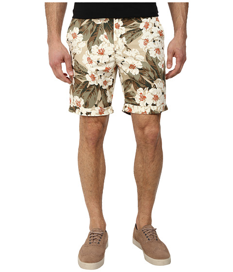 Original Penguin - Printed Basic Cotton Twill Shorts (Pale Khaki) Men's Shorts