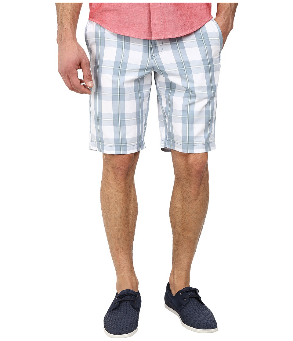 Original Penguin - Plaid Cotton Poplin Slim Fit Shorts (Faded Denim) Men's Shorts