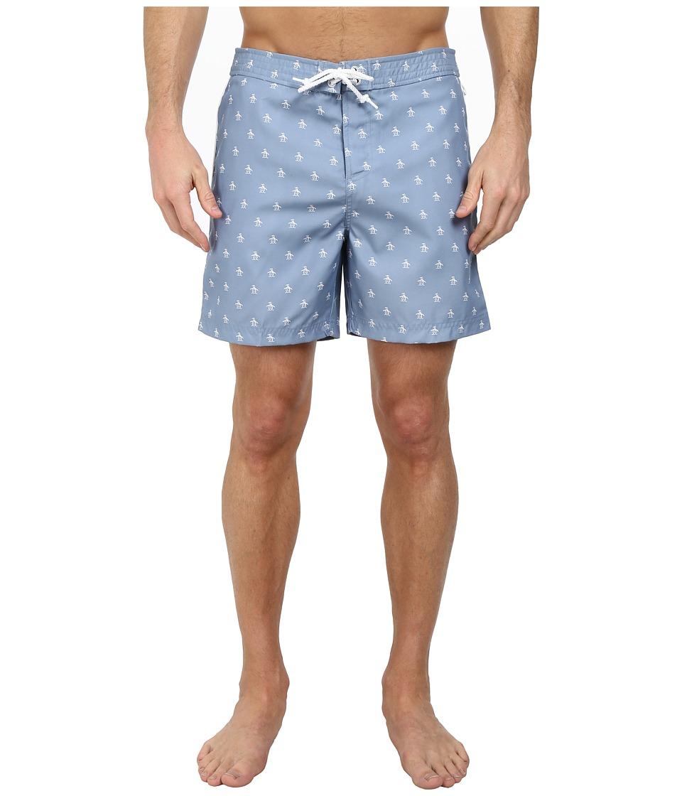 Original Penguin - All Over Penguin Print Fixed Volley Shorts (Faded Denim) Men's Swimwear