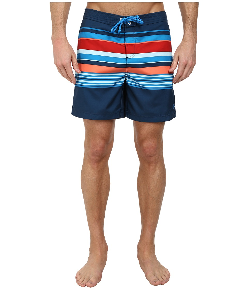 Original Penguin - Bold Engineered Stripe Volley (Blue Wing Teal) Men's Swimwear