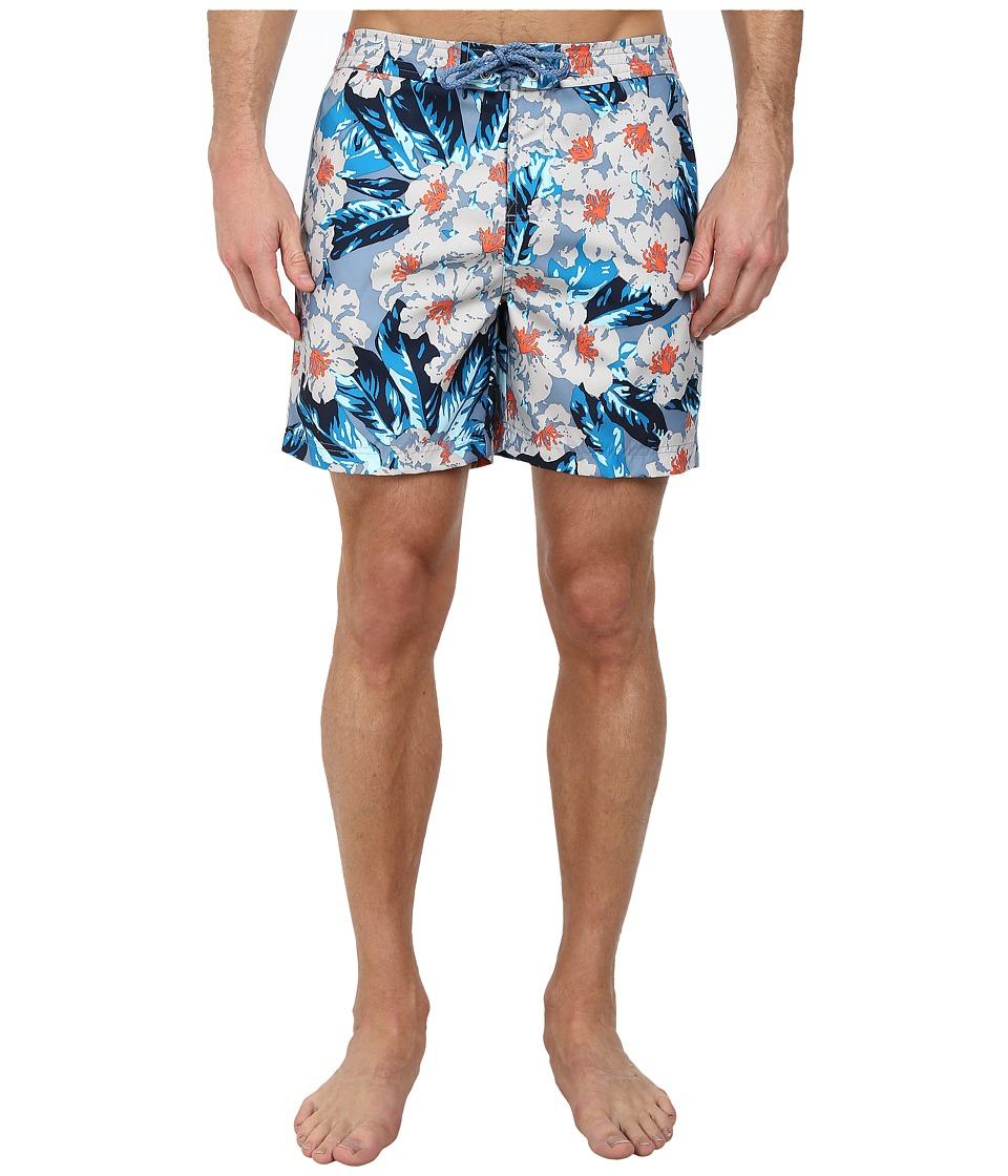 Original Penguin - Dark Floral Print Fixed Volley Shorts (Faded Denim) Men's Swimwear