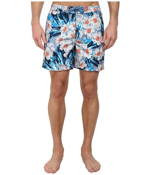 Original Penguin - Dark Floral Print Fixed Volley Shorts (Faded Denim) Men