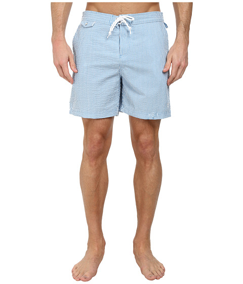Original Penguin - Seersucker Fixed Volley Shorts (Methyl Blue) Men's Swimwear
