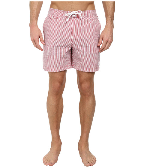 Original Penguin - Seersucker Fixed Volley Shorts (Haute Red) Men's Swimwear