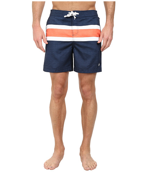 Original Penguin - Faux Chambray Engineered Stripe Print Fixed Volley Shorts (Dress Blues) Men
