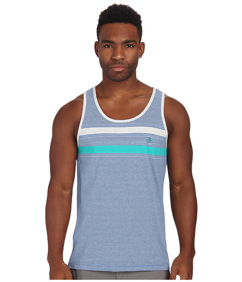 Original Penguin - Feeder Stripe Tank Top (Classic Blue) Men's Sleeveless