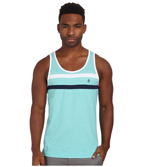 Original Penguin - Feeder Stripe Tank Top (Dynasty Green) Men's Sleeveless