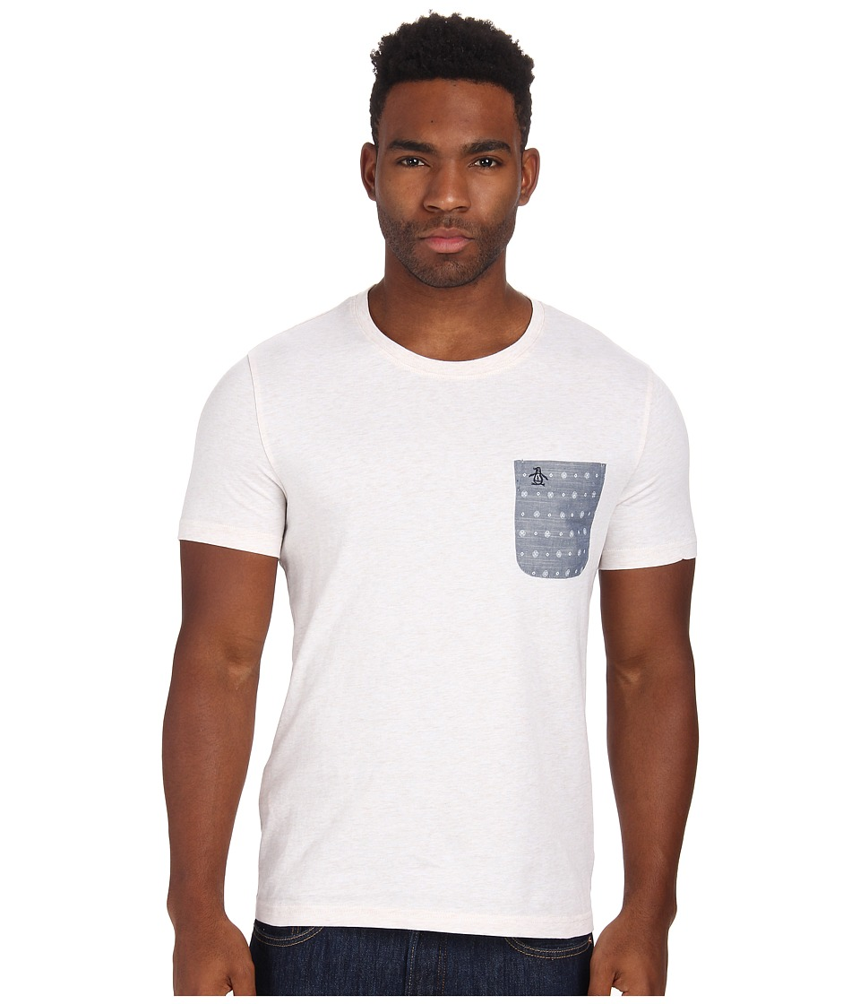 Original Penguin - Chambray Print Pocket Tee (Silver Birch) Men