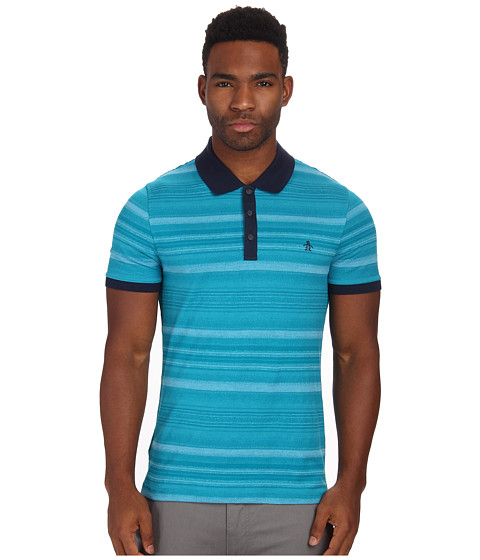 Original Penguin - Irregular Heather Stripe Polo Shirt (Enamel Blue) Men's Short Sleeve Button Up