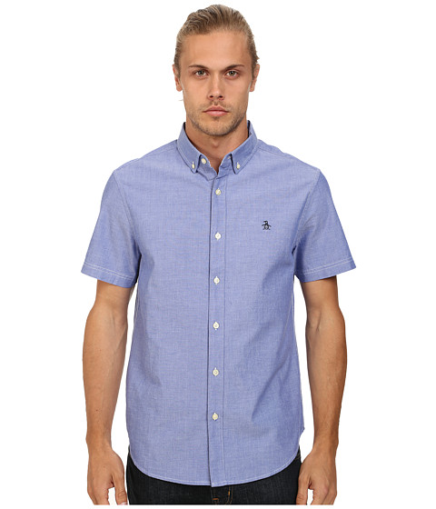 Original Penguin - Short Sleeve Oxford Cotton Heritage Fit Shirt (Royal Blue) Men's Short Sleeve Button Up