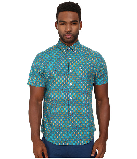 Original Penguin - Large Foulard Print Woven Short Sleeve Shirt (Enamel Blue) Men's Short Sleeve Button Up