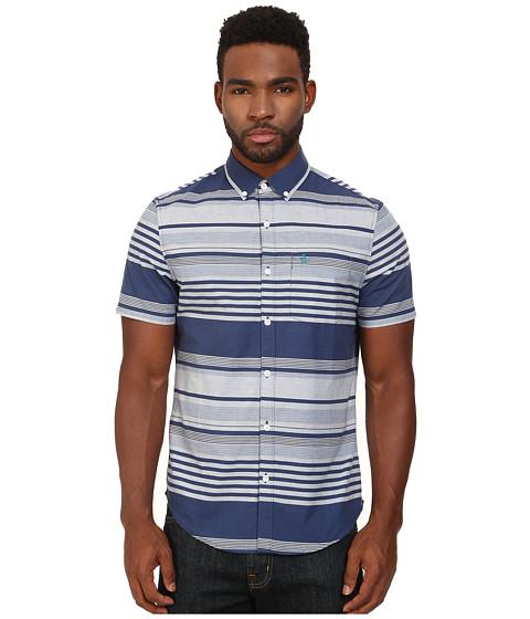 Original Penguin - Stripe Printed End on End Short Sleeve Woven Shirt (Dress Blues) Men