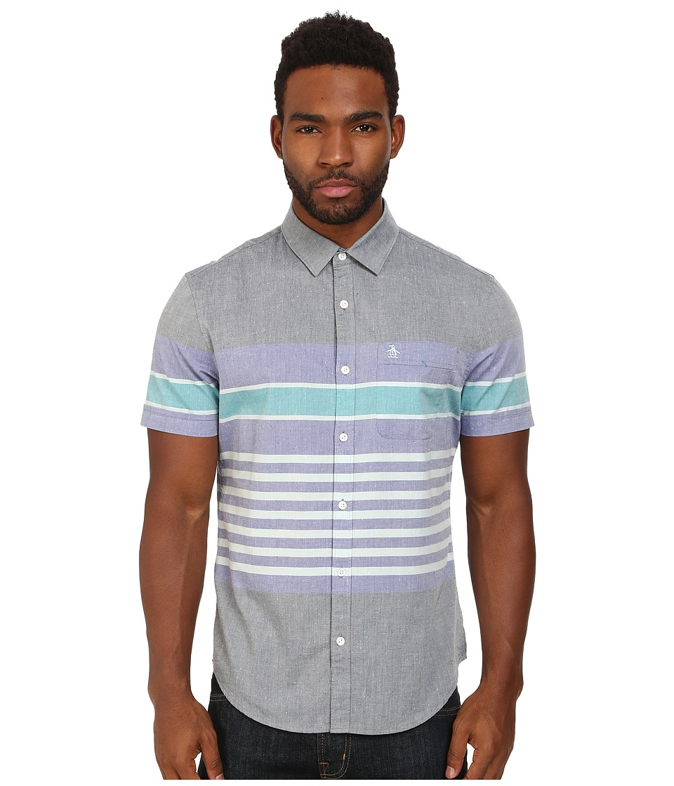 Original Penguin - Engineered Stripe Neps Woven Short Sleeve Shirt (Dress Blues) Men's Short Sleeve Button Up