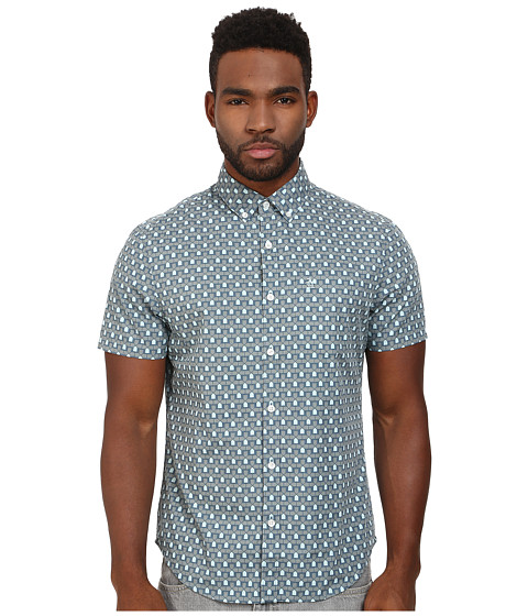Original Penguin - Architectural Printed Poplin Short Sleeve Woven Shirt (China Blue) Men's Short Sleeve Button Up