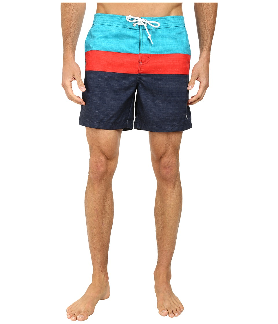 Original Penguin - Three Color Stripe Fixed Volley Shorts (Enamel Blue) Men's Swimwear