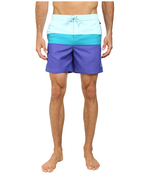 Original Penguin - Three Color Stripe Fixed Volley Shorts (Royal Blue) Men's Swimwear