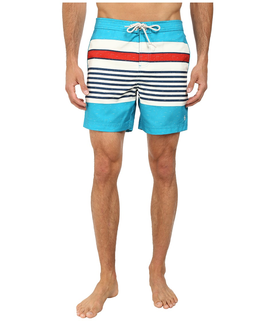Original Penguin - Engineered Stripe Print Fixed Volley Shorts (Enamel Blue) Men
