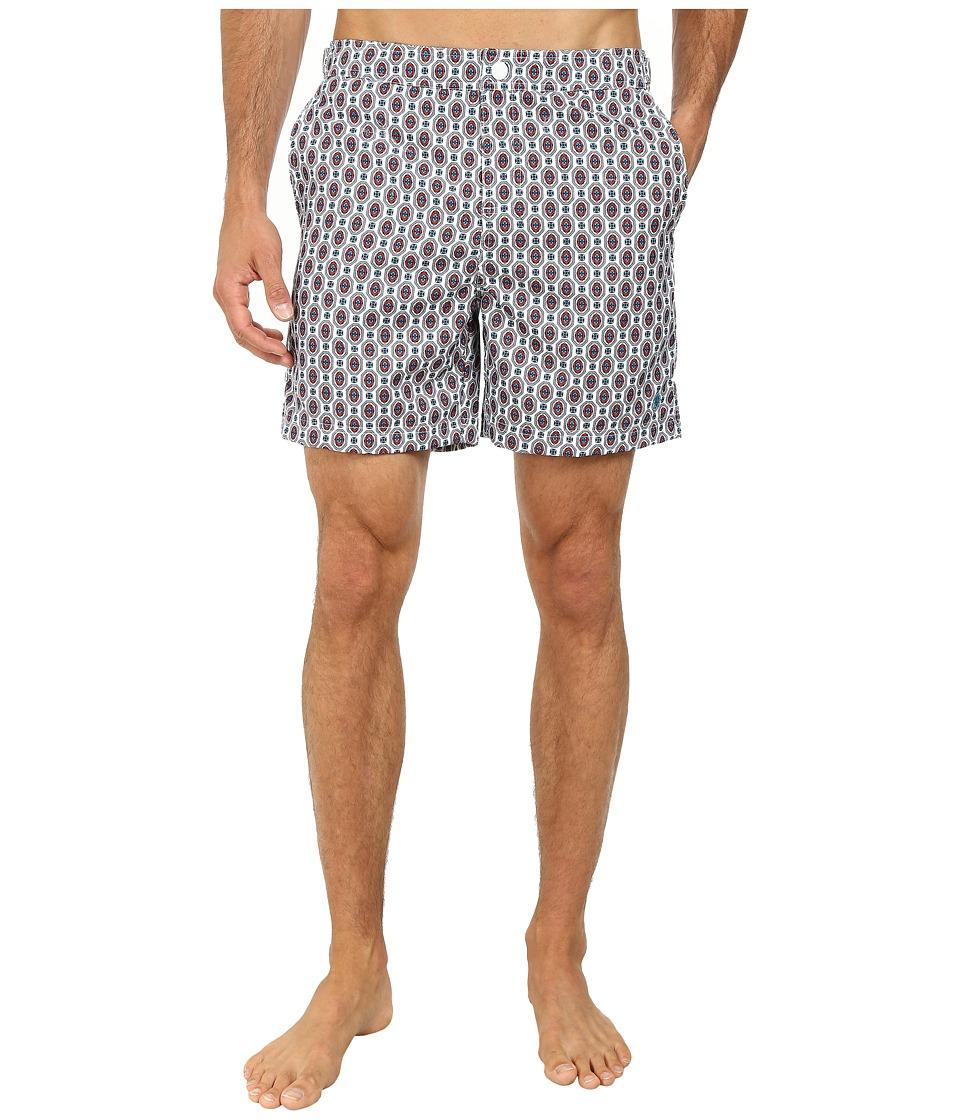 Original Penguin - Foulard Print Fixed Volley Shorts (Bright White) Men's Swimwear