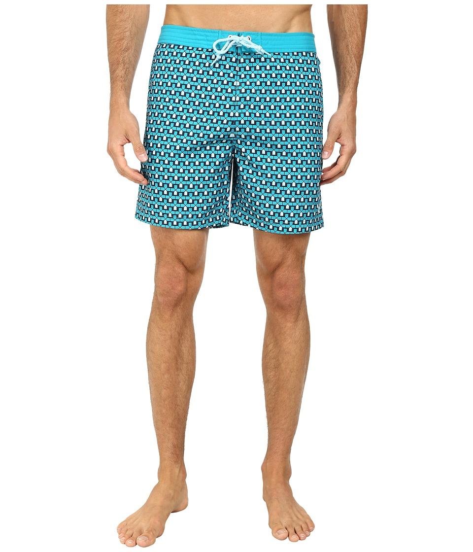 Original Penguin - Architectural Print Fixed Volley Shorts (Enamel Blue) Men's Swimwear