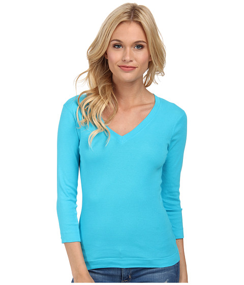Three Dots - 3/4 Sleeve Deep V-Neck (Azure) Women