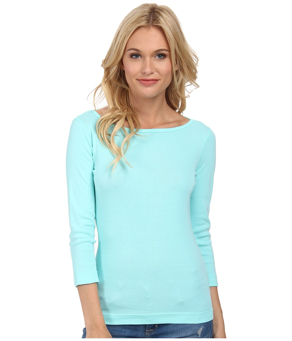 Three Dots - 3/4 Sleeve British Tee (Aqua Mint) Women's Long Sleeve Pullover