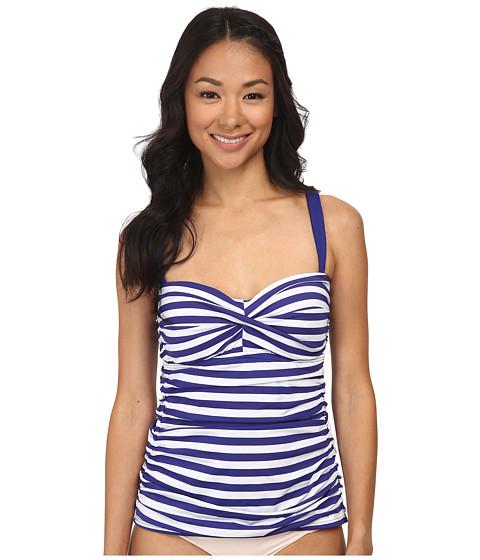 Jantzen - Harbour Beauty Stripe Twist Front Tankini (Ink Blue) Women