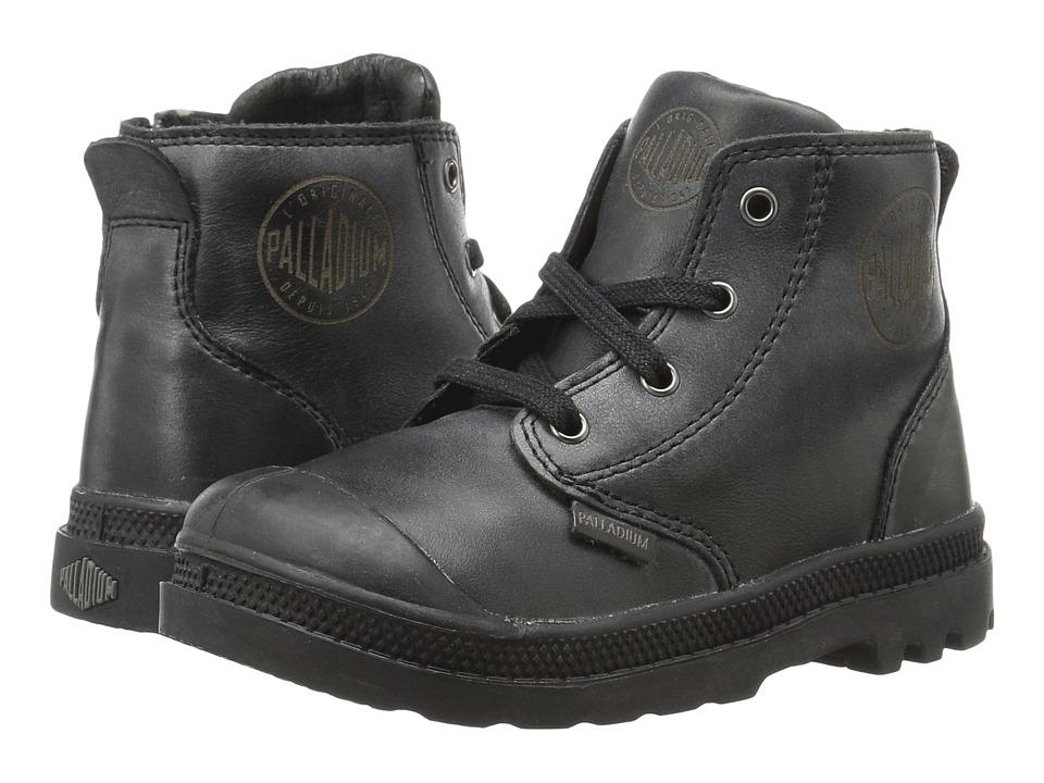 Palladium Kids - Pampa Hi Leather Zip (Toddler) (Black) Boys Shoes