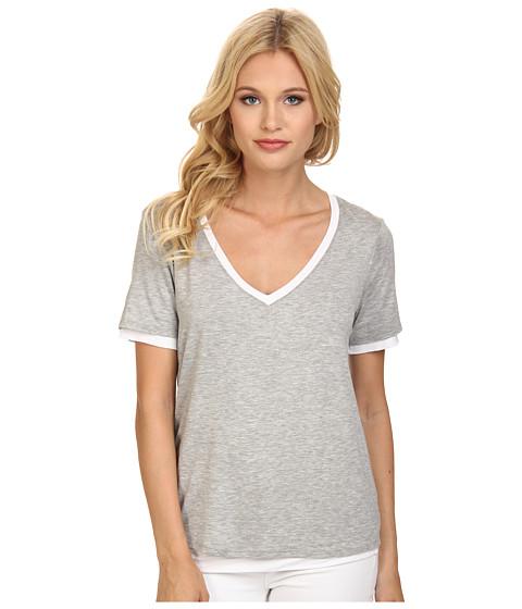 Three Dots - Reversible V-Neck Tee (Granite/White) Women's T Shirt