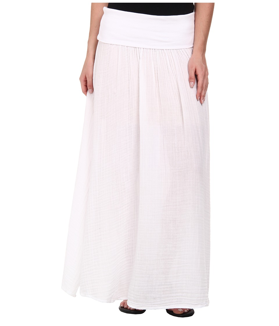 Three Dots - Maxi Skirt w/ Side Slit (White) Women's Skirt