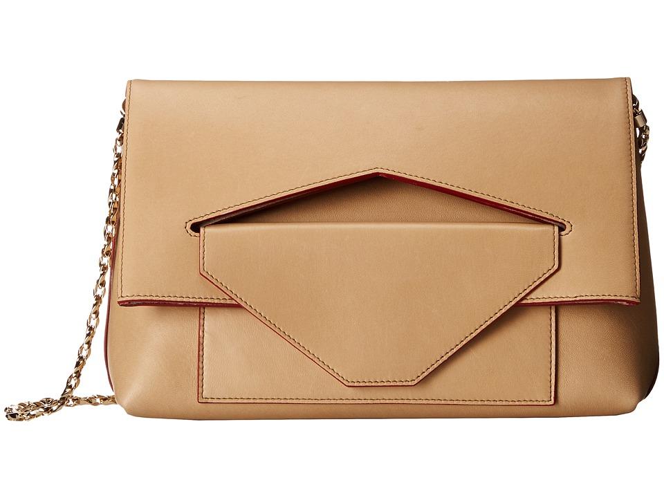 Oscar de la Renta - Grace Shoulder Bag w/ Edge Stain (Khaki/Claret) Shoulder Handbags