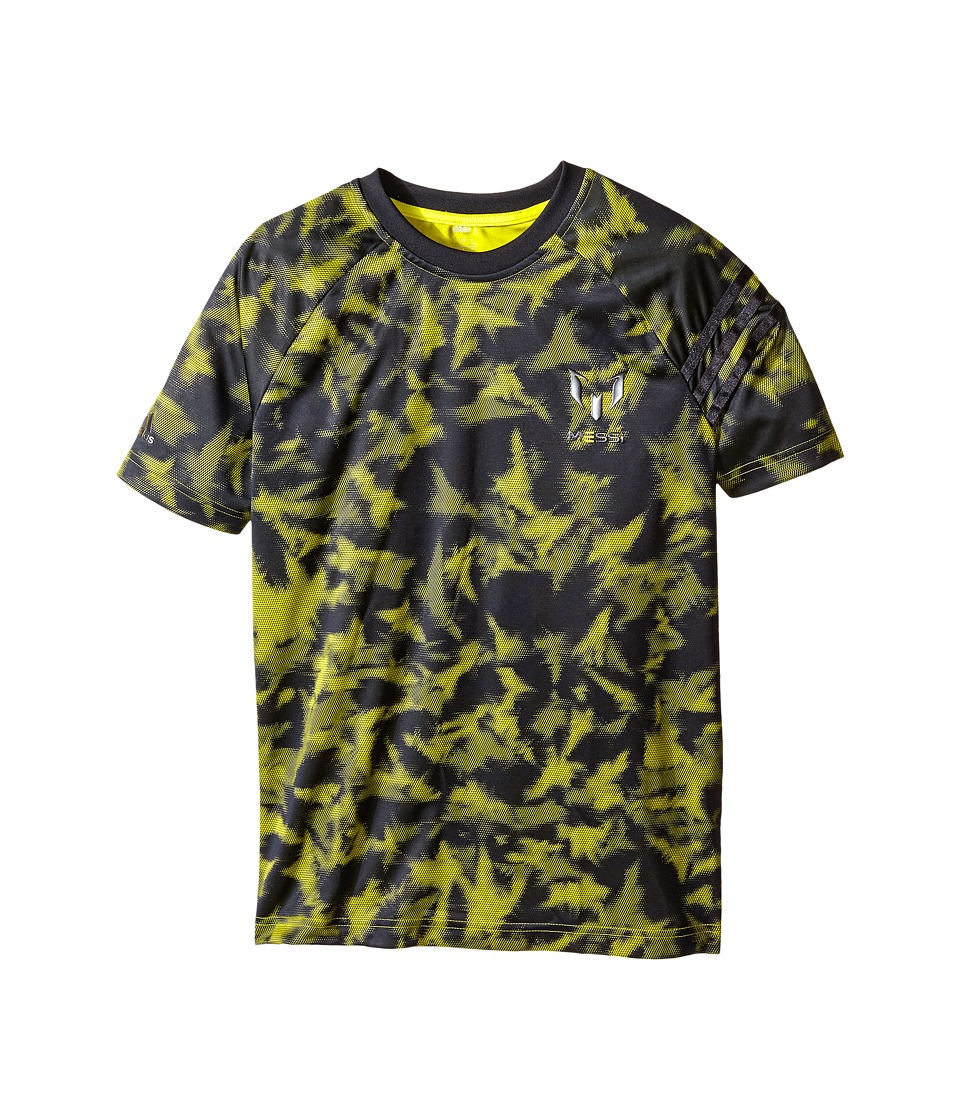 adidas Kids - Messi Q4 Print Tee (Little Kids/Big Kids) (Night Grey/Bright Yellow) Boy