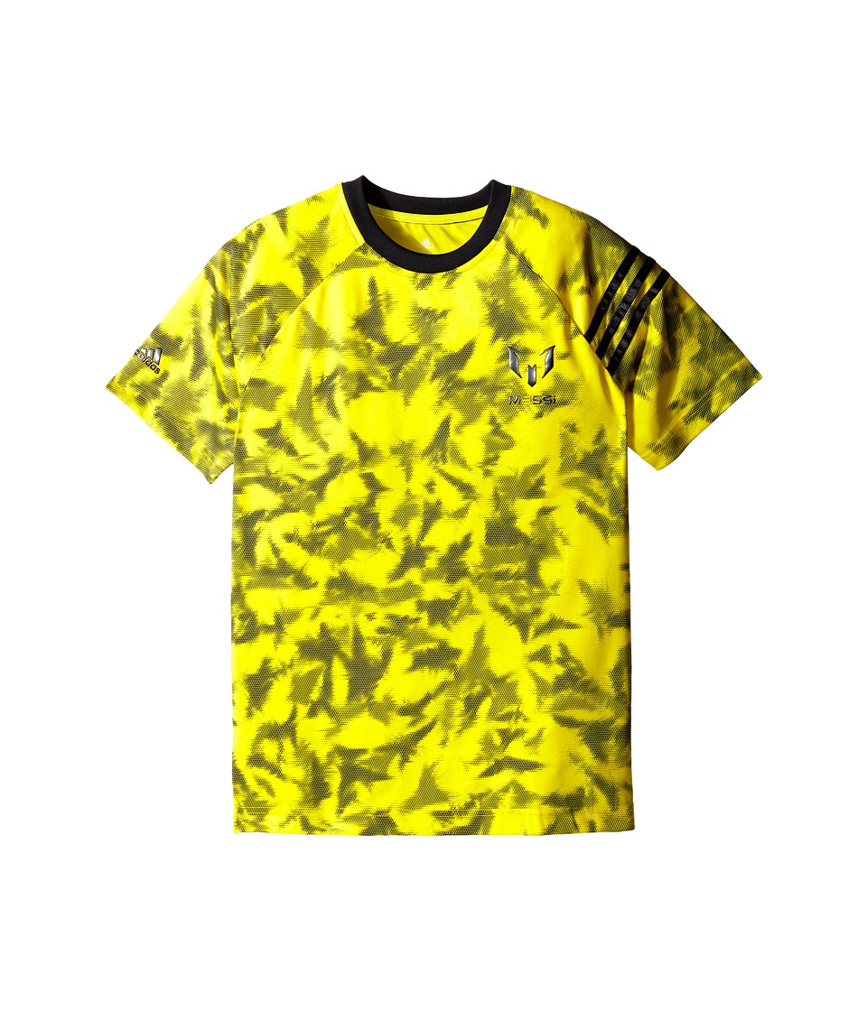 adidas Kids - Messi Q4 Print Tee (Little Kids/Big Kids) (Bright Yellow/Night Grey) Boy's T Shirt