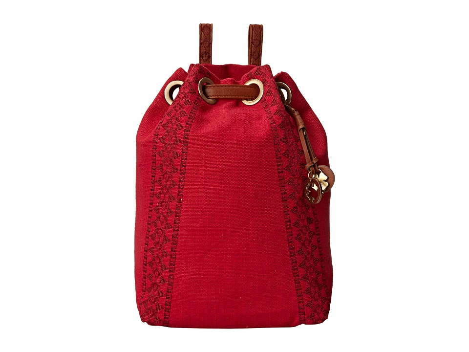 Lucky Brand - Grenada Washed Linen Drawstring Backpack (Pomegranate) Backpack Bags