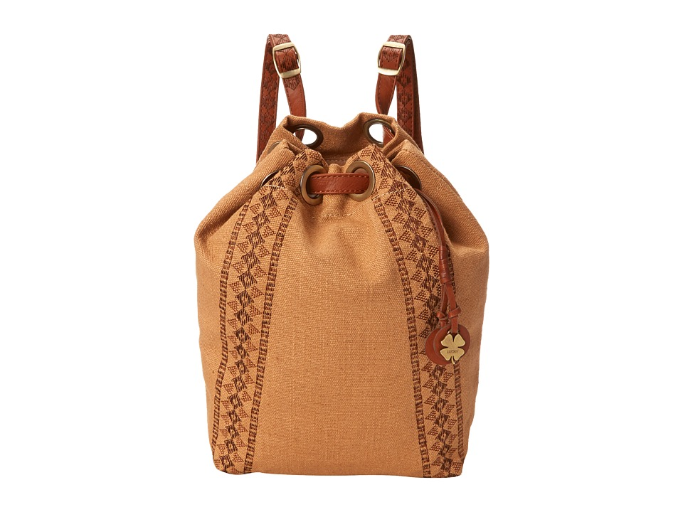 Lucky Brand - Grenada Washed Linen Drawstring Backpack (Sand) Backpack Bags
