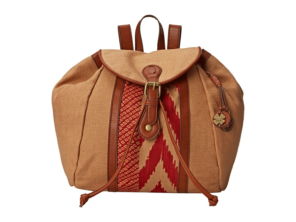 Lucky Brand - Kendal Washed Linen Backpack (Sand/Pomegrante) Backpack Bags