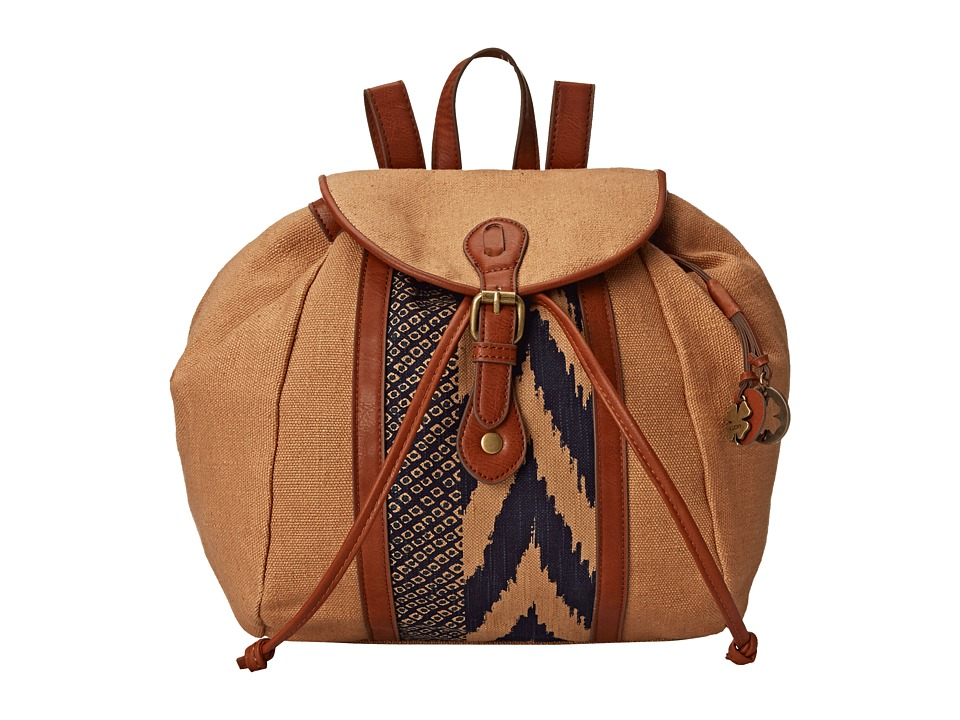 Lucky Brand - Kendal Washed Linen Backpack (Sand/Midnight) Backpack Bags