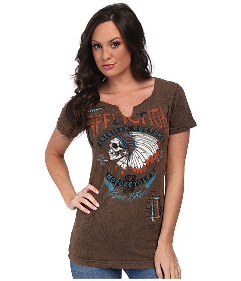 Affliction - Hunters Eye Short Sleeve Slit Neck Tee (Sand/Black Lava Tint) Women's T Shirt
