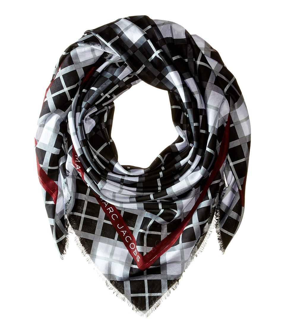 Marc by Marc Jacobs - Diagonal Plaid Scarf (Black Multi) Scarves