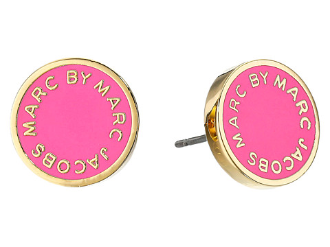 Marc by Marc Jacobs - Enamel Logo Disc Studs Earring (Knock Out Pink) Earring