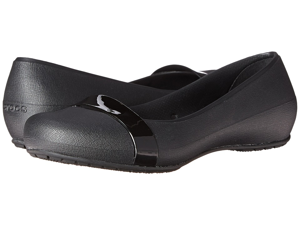 Crocs - New Commuter Plain Strap Flat (Black/Black) Women's Flat Shoes